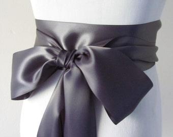 Charcoal Bridal Sash / Satin Ribbon Sash / Double face satin Sash /  DIY Sash /