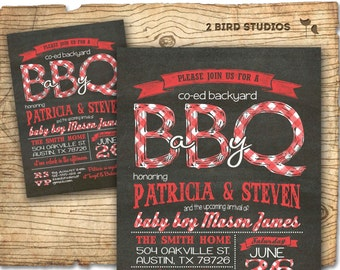 Baby q baby shower invitation - BBQ baby shower coed couples baby shower invite - DIY chalkboard printable invitation for babyque