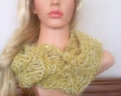 Ooak unique womens  designer alpaca green,cream lace effect hand knit/crocheted cowl,scarf,infinity neckwarmer