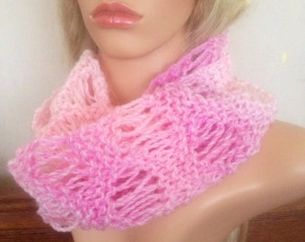 Ooak unique womens designer lace marble effect pink hand knit/crocheted autum,winter cowl,scarf,infinity neckwarmer