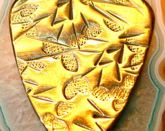 Antique Hammered Brass Pick for Acoustic and Electric Guitar, Bass, Mandolin, Ukulele, Dulcimer ... FREE SHIPPING