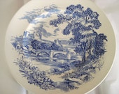 Vintage Wedgwood Dinner Plate Enoch Tunstall Countryside Dinner Plate Blue and White Transferware Vintage