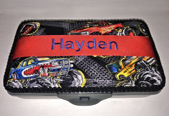Personalized pencil box monster truck print fabric with name for Monster truck fabric