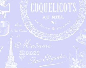 Sausalito Cottage Parisian Words in Periwinkle by Holly Holderman