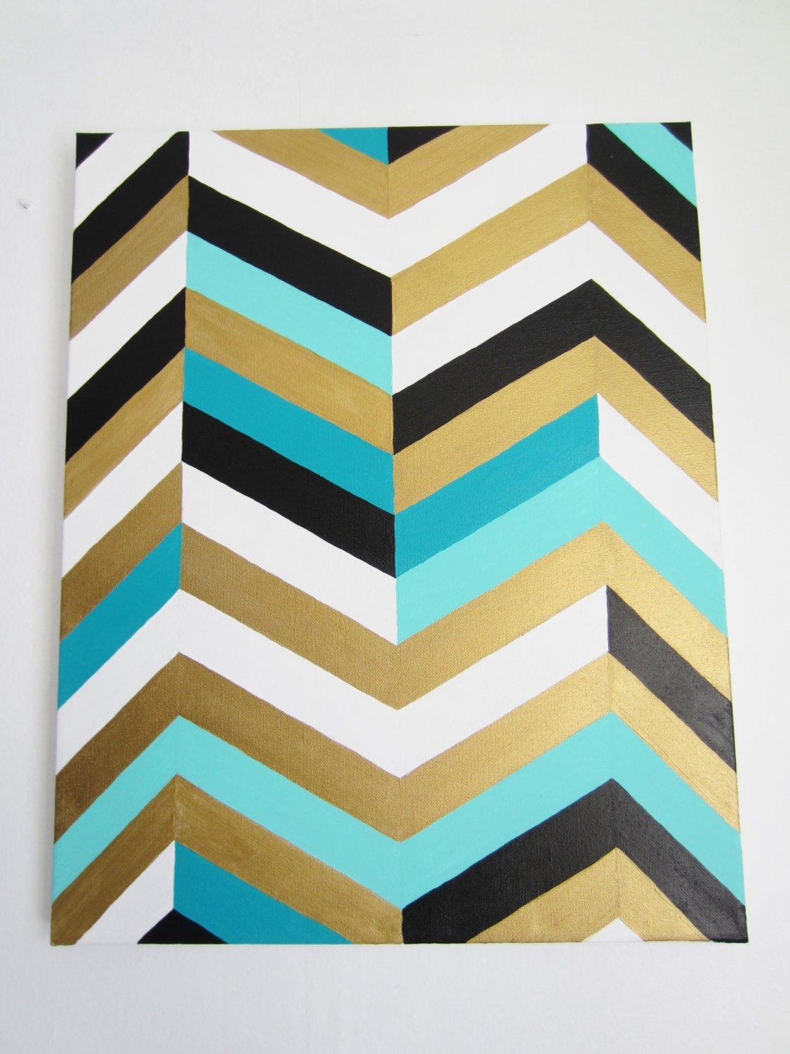 chevron art painting 16x20 gold teal turquoise black and. Black Bedroom Furniture Sets. Home Design Ideas