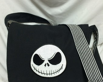 Custom Geeky Black and White Striped Nightmare before Christmas Jack Skellington Messenger bag