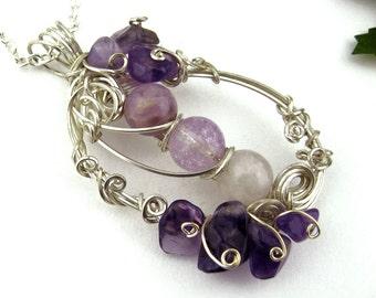 Wire Wrapped Pendant, Fluorite, Amethyst Crystals, Silver Wire Spirals, Swirls, Lavender, Purple Tones, Romantic, Handmade, Gift, Organic