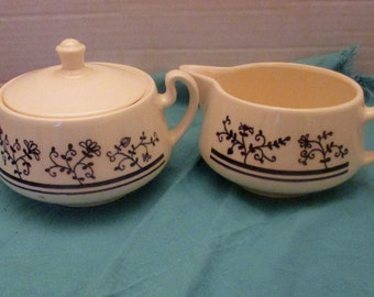 Homer Laughlin China Brittany Shape - Blue Sturbridge Pattern - Creamer and Sugar with Lid Set