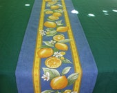 "60"" long by 12"" Table Runner cotton  .Gift for her. Fabric from Provence, France. Lemons in blue......."