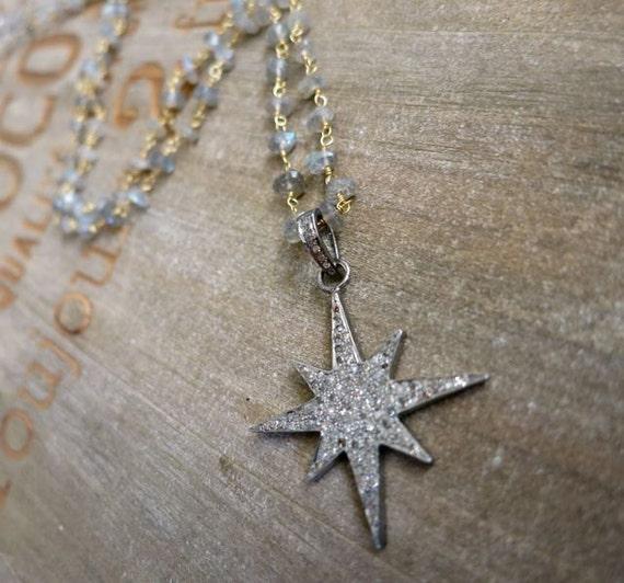 Sale! Pave Diamond Starburst Necklace/ Diamond North Star, genuine diamond star, boho Layering Labradorite chain, valentines,fine jewelry