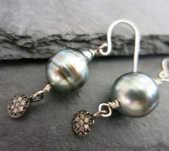 tahitian pearl earrings pave diamonds tahitian pearl earring