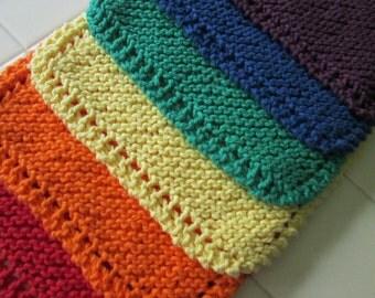Rainbow Dishcloths, Set of Six Rainbow Dishcloths, Handknit, Cotton, Dish cloth, Wash cloth, Kitchen, Dishes, Gift