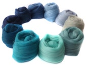 Merino Wool for Felting - Spinning - 100g - 3.5oz - Blue - Green - Jade - STORMY SEAS