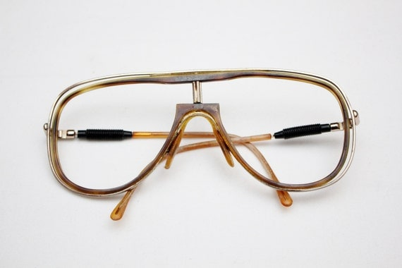 Large Gold Frame Glasses : Rare 80s Vintage LOGISTICS Large GOLD-FRAME