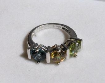 Peridot, Sphene, London Blue Topaz 3-Stone Ring Rhodium Plated Sterling Silver Size 5