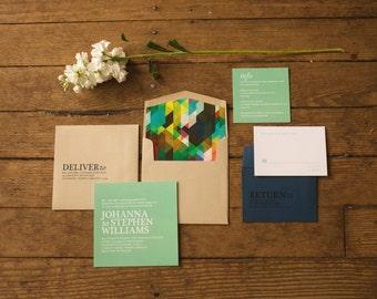 Modern Wedding Invitation, Bold Wedding Invitation, Geometric  Wedding Invitation, Mint and Navy Wedding Inviation