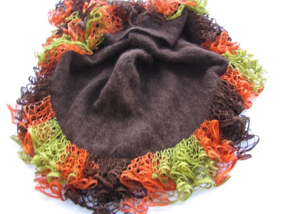 Hand knitted brown shawl/wrap with multicolored ruffles