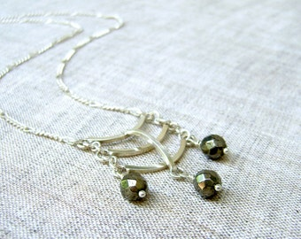Pyrite Drop Necklace - Sterling Silver - Modern Jewelry - Statement Necklace - Contemporary Jewelry - Fine Jewelry