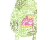 """Slimer: Andrew DeGraff Original 11""""x14"""" Gouache Painting"""