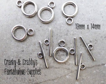19mm X 14mm Silver Plain Circle Toggle Clasps set of 10