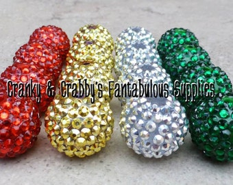 22mm Resin Rhinestone Beads set of 10 - Christmas Colors - Focal Bead Red Gold Silver Emerald