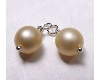 Swarovski Pearl Drop Bead Charms - White Ecru (2) - Satin Finish - Hand Wrapped