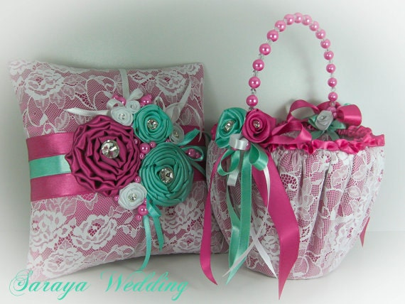 Flower Girl Basket And Ring Bearer Pillow Set In Aquamarine And