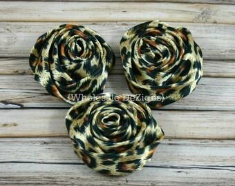 "Leopard Satin Rolled Rosette Flowers - 2"" - Set of 3"