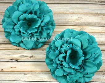 "Teal Green Silk Peony flowers - 4 inches Flower Heads - 4"" - 2 Peonies"