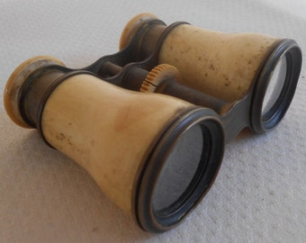 Antique Victorian Bone and Brass Opera Glasses Antique Binoculars Theater Viewing Steampunk Magnifying Eyeware Telescopic