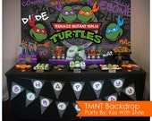 Smiling TMNT - Teenage Mutant Ninja Turtle - Backdrop - Size 6ft x 3ft (72in x 36in)  //  INSTANT DOWNLOAD