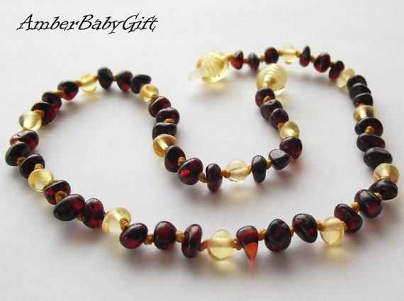 Baltic Amber Necklace For Babies and Children, Lemon and Cherry Amber Beads