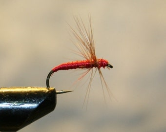 Made in Michigan Fishing Flies - Red Brown Spider on Number 10 Hook - Red thread hard body with brown feather hackle - For Him - For Her