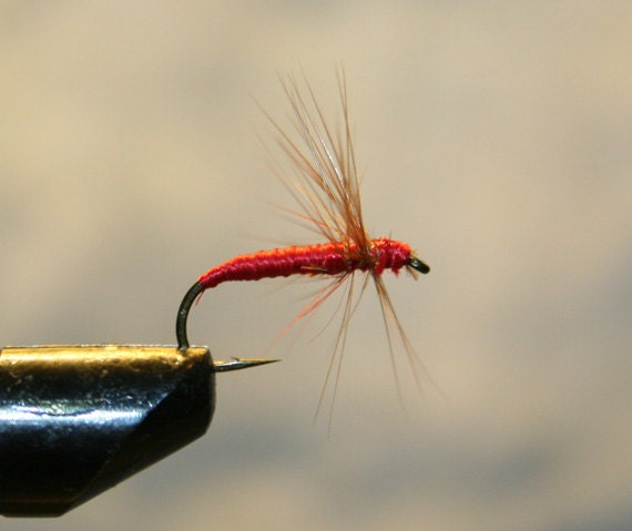Items similar to made in michigan fishing flies red for Fishing spider michigan