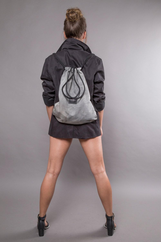 Grey drawstring bag | Etsy