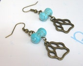 Vintage Brass Love Dog Paw Foot Print. Turquoise Dog Bone Bead. Dangle Earring (no 1)