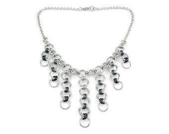 Gunmetal Chain Mail Bib Necklace