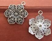 10PCS 32 x 24MM  Flower connector charm  - antique silver Charm Pendant