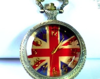 1pcs 48mmx48mm Bronze National flag  Glass Cover pocket watch charms pendant