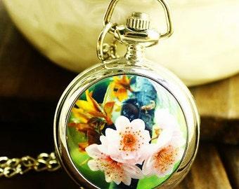 1pcs Pear Flower  pocket watch charms pendant    25mmx25mm
