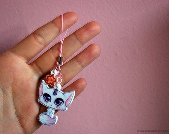 pastel kawaii unicorn cat phone charm - anime manga style fairy kei phone strap - pastel goth key chain with dust plug for smartphone