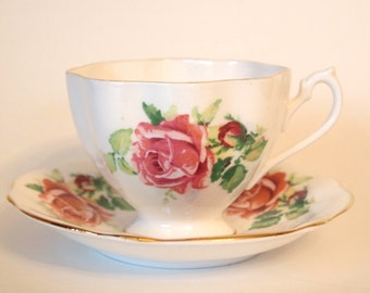 Vintage Teacup with Pink Roses with Gold Fine Bone China English Tea Cup and Saucer Set England | Shabby Cottage Chic Tea Party Favor