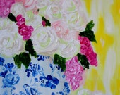 """Floral Still LIfe, Flowers in Blue and White GInger Jar with Yellow Ikat, GICLEE PRINT """"Blush"""""""