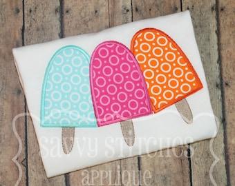 Popsicle Trio Machine Embroidery Applique Design
