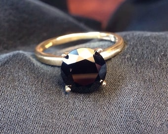 Black Spinel 8mm Gold Ring, Engagment Ring, Wedding Ring, 14k Gold Ring with Black Spinel Gemstone