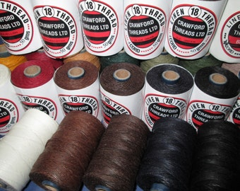 Crawford Waxed Linen Thread , No 18 / 4 ply ...... many colours to choose