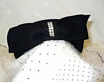 Black Fur Felt Hat with Rhinestones and Bow Mid Century