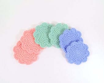 Pastel Flower Crochet Coaster Set of 6, Pastel Beverage Coaster, Summer Party Decoration, Pastel Crochet Flower Coasters, Decorative Coaster