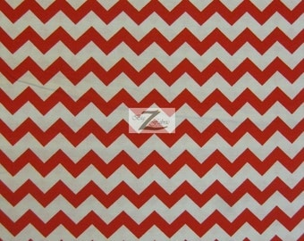 """Chevron Print 100% Cotton Fabric - Red On White - Sold By The Yard  - 45"""" Width (FH-31)"""