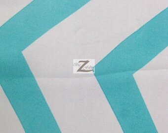 "Chevron Zig Zag Hi Multi Chiffon Fabric - WHITE/TURQUOISE - 58"" Width Sold By The Yard"